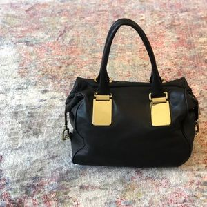 Banana Republic Black Leather and Gold Satchel
